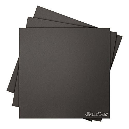 BuildTak 3D Printing Build Surface, 4.5' x 4.5' Square, Black (Pack of 3)