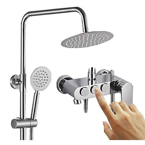 MFWallMirror doucheset voor badkuip van koper om op te hangen aan de muur, hendelknop, zilverkleurig