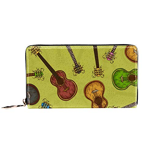 Cartera con cremallera y embrague de teléfono, de madera colorida con guitarra acústica sobre fondo amarillo, bolso de viaje de piel, bolsa de embrague, organizador de tarjetas, billeteras