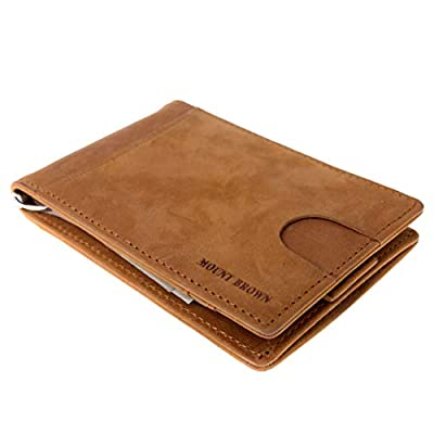 MOUNT BROWN Bifold RFID Blocking Slim Minimalist Genuine Leather Front Pocket Wallets for Men, Thin Money Clip with Pull Tab (Light Brown)