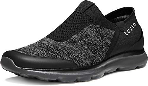 TSLA Men's Loafers & Slip-On Shoes, Lightweight Breathable Mesh Walking Shoes, Comfortable Casual Work Sneakers, Flex Slip-on(rx255) - Anthracite & Black, 10.5