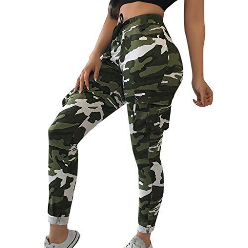 Elsta Damen Casual Hip Hop Hose Yogahose Tanzhose Camouflage Bedruckte Lässige Haremshose Mädchen Jogger Trainingshose Casual Sport Camo...
