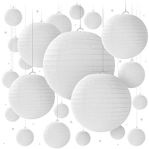 20 White Paper Lanterns for Birthday Decorations, Weddings, Parties & Events - Round Hanging Paper Lanterns in Sizes of 6