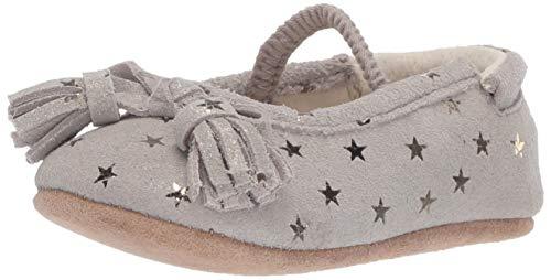 Robeez Girls' Ballet Flat-First Kicks Crib Shoe, Brown Star, 12-18 Months