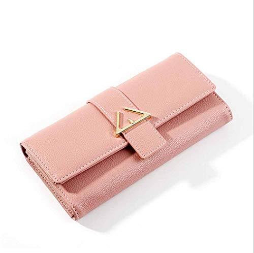 Dames brieventas met gesp, lange koppelingstas, meervoudige bit-portemonnee, roze, 190 x 95 x 30 mm
