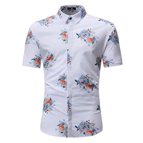Herrenhemd Rosennie Männer Mode Floral Printed Bluse Casual Kurzarm Schlank Shirts Tops Herren Hawaiihemd Hawaiishirt Urlaub Hemd Strandhemd Freizeithemd Sommer Slim Fit Oberteile (M, Weiß 2)
