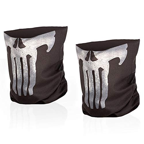 M-Tac Skull Mask Bandana Headband Scarf Gaiter Tube (Black, Set of 2)