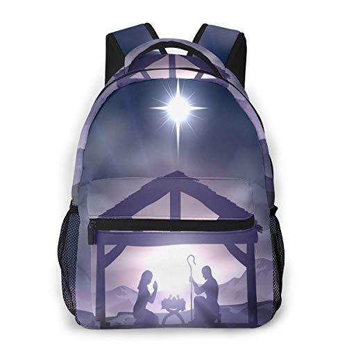 Dujiea Backpacks for Kids Christian Nativity Scene Waterproof Book Bags for Laptop, Women Casual Daypacks School Rucksack Travel Backpack for Children Toddler 1th- 6th Grade Girls Boys