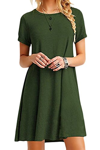 YMING Women Summer Short Sleeve Casual Simple Dress A Line Dress Army Green M