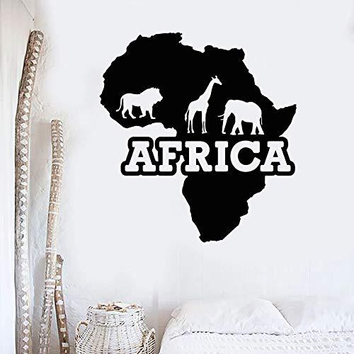 Calcomana de pared de animal salvaje silueta jirafa elefante Len continente africano artista estudio dormitorio decoracin del hogar pegatina detallada