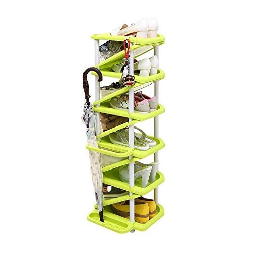 Zapatero Rack de zapatos de múltiples capas for el hogar Rack de zapatos de gran capacidad en forma de Z Rack de almacenamiento doméstico multifunción Estante para Zapatos ( Color : Green )