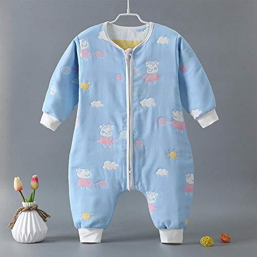 Katoenen mouwloze babyslaapzak, katoenen babyslaapzak, klimpak met gespleten legging - blauwe onderkant pecs_90cm, slaapzak baby wikkeldeken
