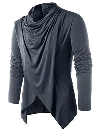 Men Asymmetrical Overlap Cardigan Knitted Long Sleeve Sweaters Shawl Collar Open Front Tops Gray M