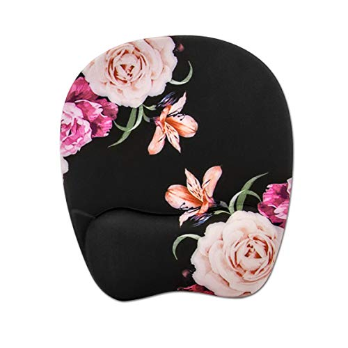 Mouse Pad, Memory Foam Mouse Pad with Wrist Rest Support, Gaming Mouse Pad with Lycra Cloth, Non-Slip PU Base Ergonomic Design for Laptop ,Desktop Computer-Peony Flower