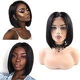 BLISSHAIR Peluca de cabello corta bob humano ondulado color negro natural recto peluca para mujeres negras pelo natural con pelo de bebé Densidad del 130% pelo virgen brasileño sin procesar 10 pulgada