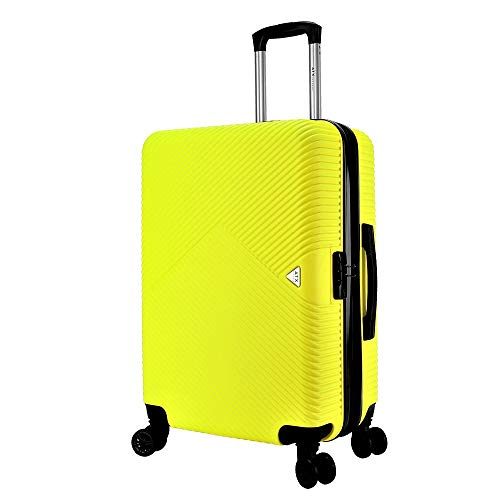 ATX Luggage 28 inch Large Super Lightweight Durable Expandable ABS Hardshell Hold Suitcases Trolley Case Hold Check in Travel Bags with 8 Wheels & Built-in Lock (28' Large, Yellow)