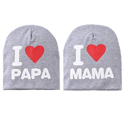 Toddler Beanie Hat Bonnet tricoté chaud, joli chapeau pour bébés garçons, filles de 0 à 2.5 ans, chapeau de maman et papa I love pack de 2