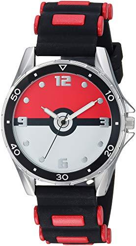 Pokemon Stainless Steel Quartz Watch with Rubber Strap, Black, 17 (Model: POK9007)
