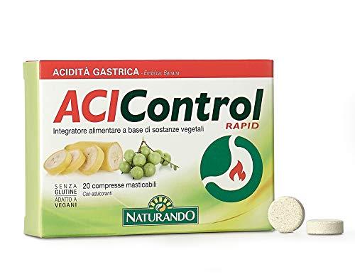 Naturando - Acicontrol Rapid 20 Comprimidos Masticables - Complemento alimenticio para el Control del Ácido gástrico y la Eliminación de los Gases Intestinales