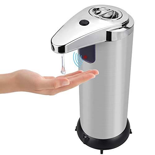 BUZIFU Dispensador de Jabón Automático con Sensor, 250ml Dispensador de Desinfectante Manos con Control Infrarrojos, Dispensador Inteligente de Jabón sin Contacto para Hogar, Oficina, Hotel o Hospital