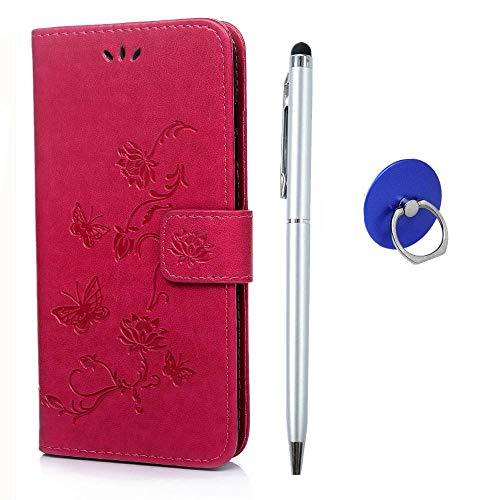 Handyhülle Kompatibel mit Huawei Y7 2019 Handytasche Klapp Leder Brieftasche Schutzhülle mit Fingerhalter Stylus Stift Kartenfächer Magnetverschluss Ständer, Prägung Lotus Schmetterling Rose rot
