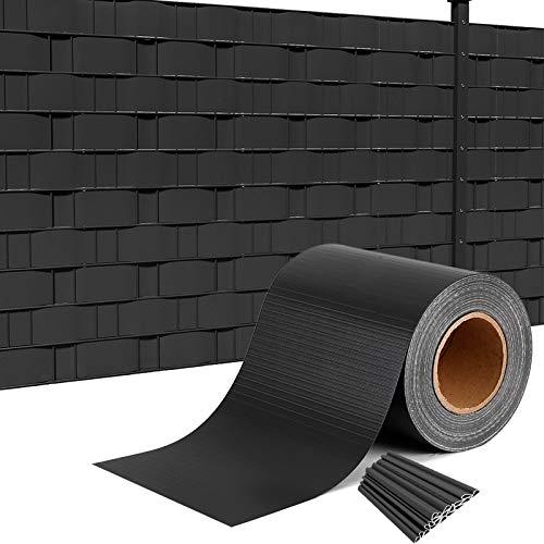 HENGMEI PVC Sichtschutzstreifen 65m x 19cm mit 30 Stücke Befestigungsclipse Sichtschutzfolie Windschutz Stabmattenzaun Gartenzaun Blickdicht für Zaun, Gartenzaun (65m x 19cm, Anthracite)