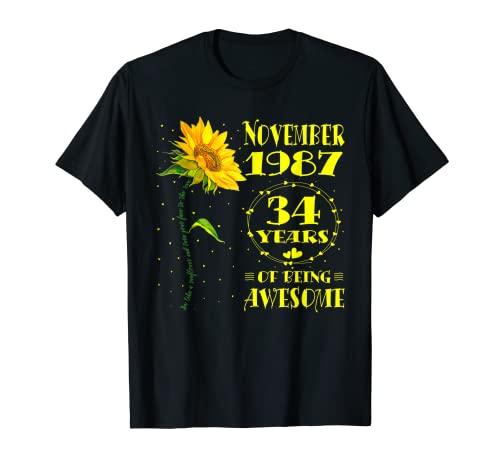 34e anniversaire 34 ans femme née novembre 1987 tournesol T-Shirt