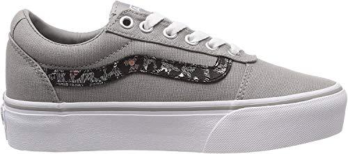 Vans Ward Platform Canvas Zapatillas Mujer, Gris (Metallic Leopard) Drizzle Vw2), 34.5 EU (2.5 UK)