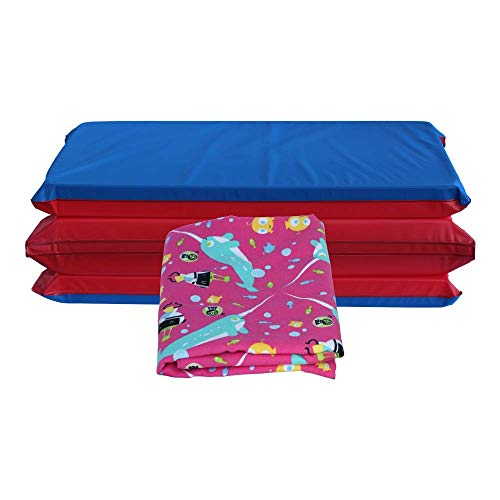 KinderMat + PBS Kids Kinderbundle - Full Nap Mat & Washable Cover, Special Edition - Narwhal Expedition - Regular, Sheet is 47' x 22', Great for Daycare & Family Households