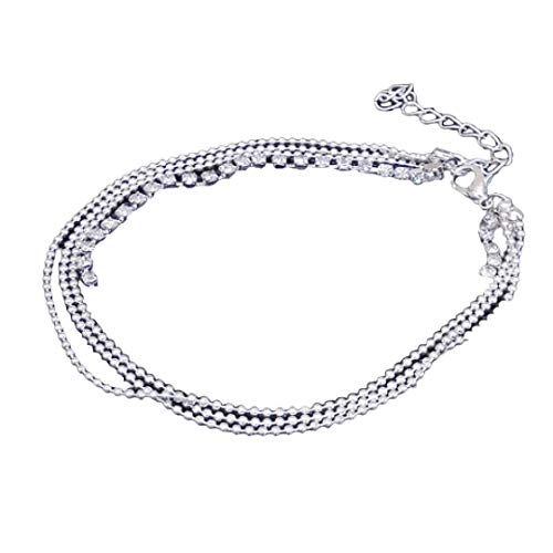 Lomsarsh Women Ankle Bracelet, Multi Layer Fashion Simple Silver Bead Flash Drill Lady Chain Anklet Beach Foot Jewelry Anklet Chain Sparkly Ankle Bracelet (Silver)