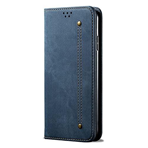 Adecuado para Galaxy A12 5G Denim patrón cuero caso Flip Cover A12 5G lona Denim patrón teléfono móvil Case-Blue_A42 5G