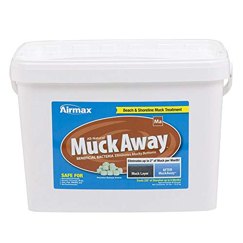 """Airmax MuckAway, Natural Pond Muck Reducer, Removes Up to 2"""" of Muck Per Month Target Beaches & Shorelines, 48 Scoops"""