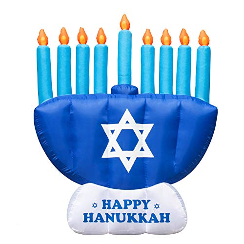 Rocinha Hanukkah Inflatable Outdoor Decorations, 8 ft Chanukkah Menorah Blow Up for Yard & Lawn - Jewish Inflatable Menorah Decoration with Powerful LED Bulb