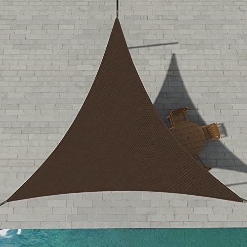 Patio Paradise Sun Shade Sail 14' x 14' x 14' Triangle Canopy in Brown UV Block Fabric-Customized Available-Set of 1