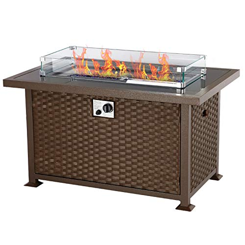U-MAX 44in Outdoor Propane Gas Brown PE Rattan Fire Pit Table, 50,000 BTU Auto-Ignition Gas Firepit with Glass Wind Guard, Black Tempered Glass Tabletop & Blue Glass Stone, CSA Certification