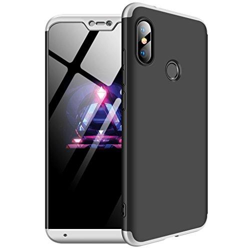 """FaLiAng Funda XiaoMi Mi A2 Lite(5.84""""), Ultra Fina 3 en 1 Desmontable Anti-Arañazos Hard PC Carcasa 360° Full-Cover Anti-Choque Protective Funda para XiaoMi Mi A2 Lite(5.84"""") (Negro, Plata)"""