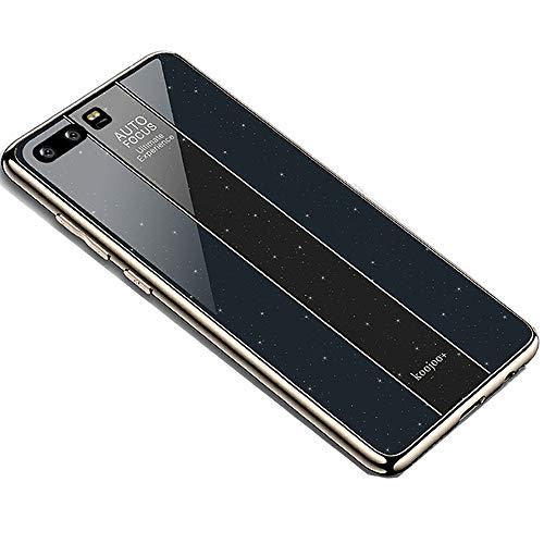 Miagon Überzug Hülle für Huawei P10,Glänzend Glitzer Überzug Plating Rahmen Ultra Dünn Hart PC Handyhülle Schutzhülle Tasche Weich Case Bumper für Huawei P10,Schwarz