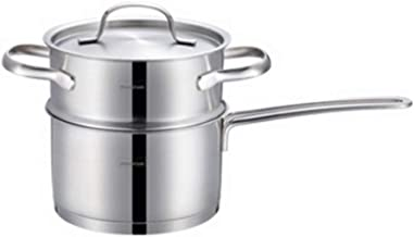 ZYSWP Stainless Steel Steamer Household Thickened Boiled Hot Milk Household Steamer Noodle Soup Pot