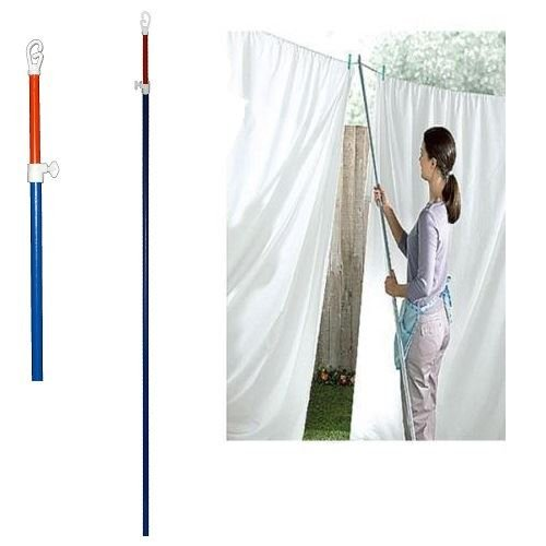 2 X TELESCOPIC CLOTHES LINE PROP EXTENDING WASHING METAL POLE 2.4 M EXTENDABLE by sell-ideas