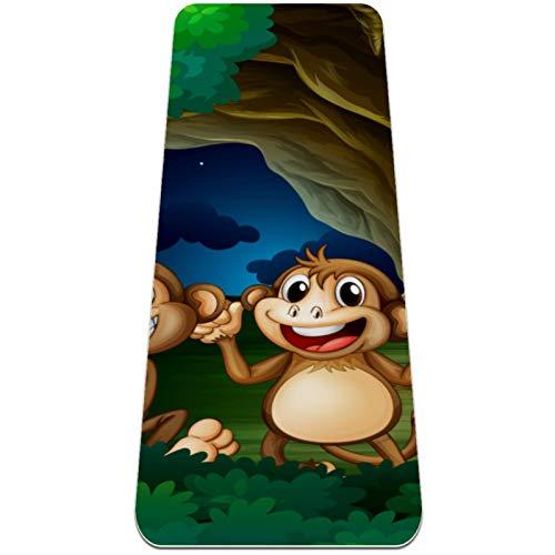 Eslifey Lindos felices monos en el bosque profundo, esterillas de yoga gruesas antideslizantes para mujeres y niñas, tapete de ejercicio suave para pilates (72 x 24 pulgadas, 0,6 cm de grosor)