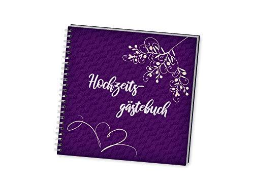 Springtime - Romantisches XXL - Gästebuch zur Hochzeit in violett, quadratisch, praktisch- Inhalt...