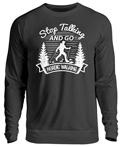 generisch Nordic Walking Tshirt Laufen Joggen Wandern Wanderer Natur Berge Geschenk - Unisex Pullover -XXL-Jet Schwarz