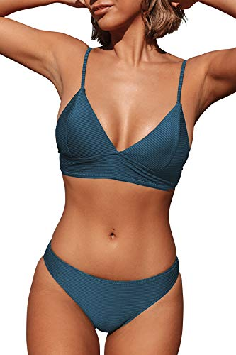 CUPSHE Women's Solid Color Sexy Triangle Bikini Set Padded Swimsuit, L Navy