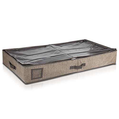 Navaris Unterbettkommode Stoff 91x50x14cm - Unterbett Aufbewahrung mit Sichtfenster groß flach - Bett Aufbewahrungsbox aus Polyestervlies in Braun