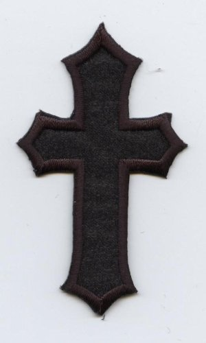 2-1/2 Inch - Black Religious Cross - Embroidered Iron on Patch