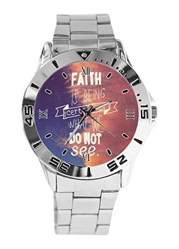 Reloj de Pulsera analógico de Cuarzo con diseño de Citas cristianas,