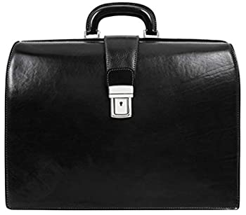 Leather Lawyer Briefcase for Men and Women Black Italian Attache Doctor Bag - Time Resistance