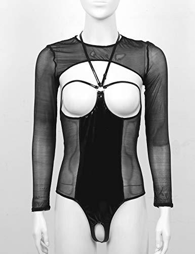 zdhoor Woman's See-Through Wet Look Sexy Thong Bodysuit Leotard Mesh Sheer Crop Top Shirt Teddy Nightwear