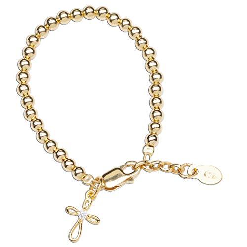 Children's 14K Gold-plated Baptism Bracelet with Infinity Cross Charm for Girls (MED)