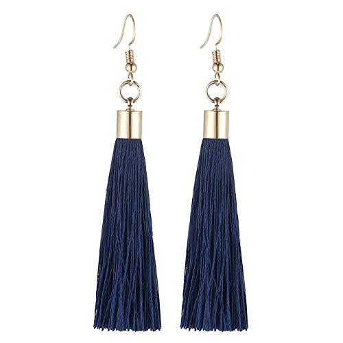 Earring Fringe Tassel Earrings For Women Vintage Gold Color Long Drop Dangle Earrings Fashion Jewelry Wedding Party Gift-Navy_Blue